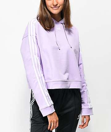adidas 3-Stripe Purple Glow Crop Hoodie