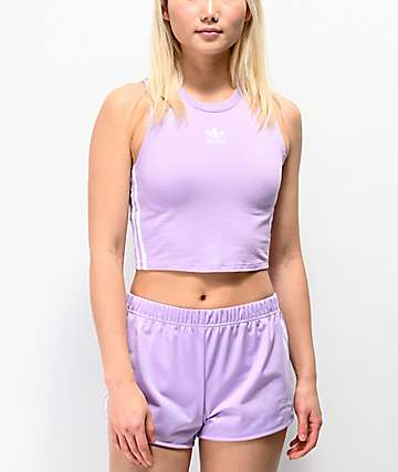 adidas 3 Stripe Purple Glow Crop Tank Top