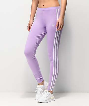 a79d438afb02f adidas 3 Stripe Purple Glow Leggings