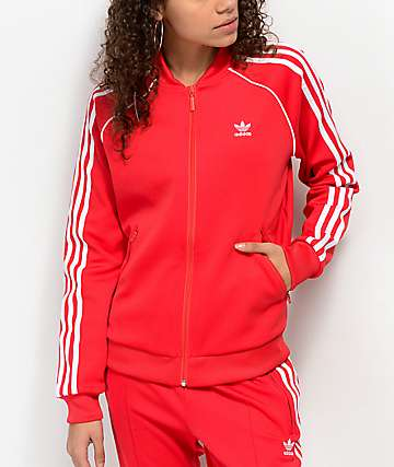 adidas 3 Stripe Red Track Jacket