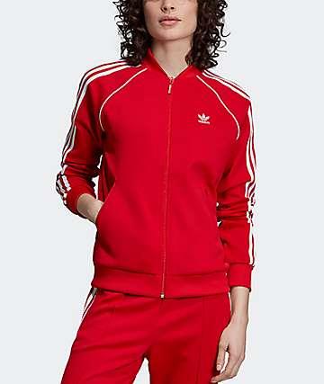 adidas 3 Stripe Scarlet Red Track Jacket