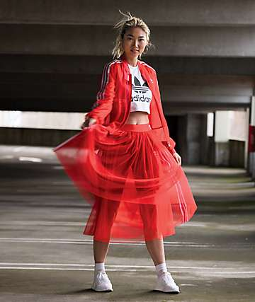 adidas 3 Stripe Tulle Red Skirt