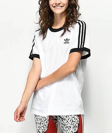 adidas 3 Stripe White T-Shirt
