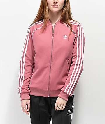 adidas 3 Stripe chaqueta de chándal rosa