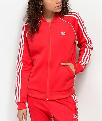 adidas 3 Stripe chaqueta roja de chándal