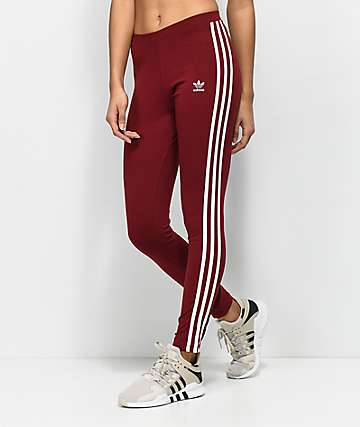 adidas 3 Stripe leggings en color borgoño