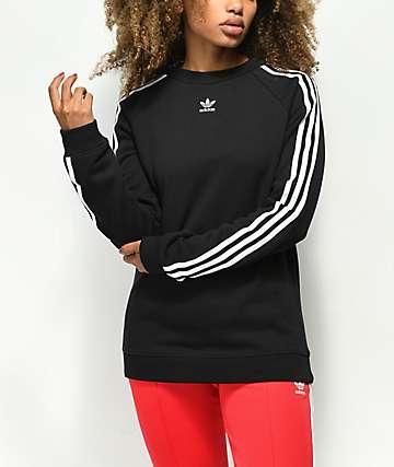 adidas 3 Stripe sudadera negra con cuello redondo