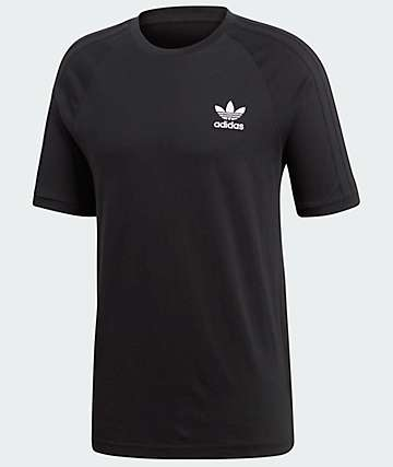 adidas 3 Stripes Black Knit T-Shirt