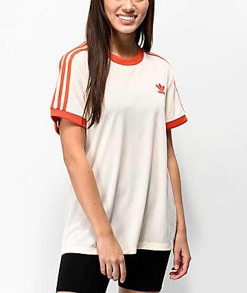 adidas 3 Stripes Cream Mesh T-Shirt
