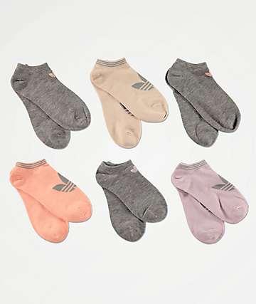 adidas 6 Pack Purple & Pink No Show Socks