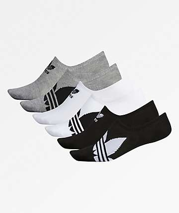 adidas 6 Pack Superlite Black & White No Show Socks