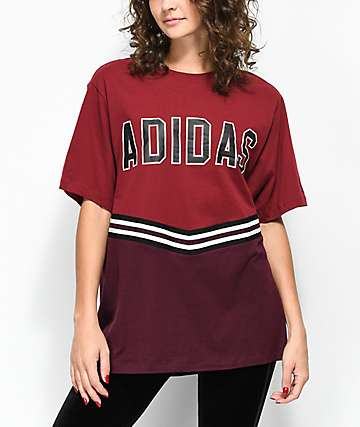 adidas Adibreak camiseta colegial en color borgoño