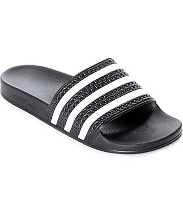 adidas Adilette Black & White Slides