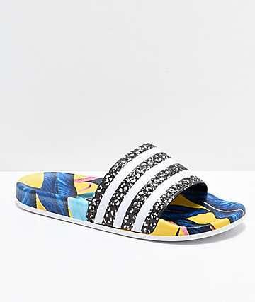 adidas Adilette Blue, Yellow & Black Slide Sandals
