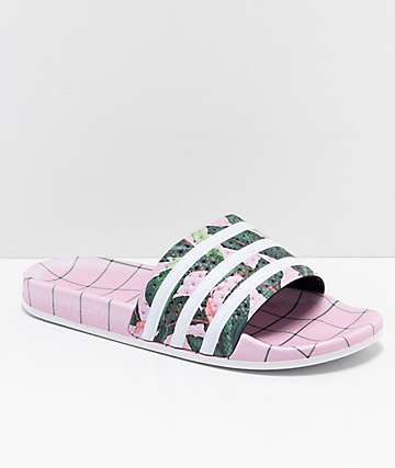 adidas Adilette Pink, Green & White Slide Sandals