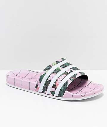 adidas Adilette Pink, Green & White Slide Sandals