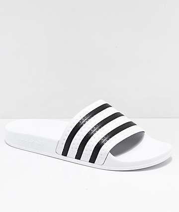 adidas Adilette White & Black Slide Sandals