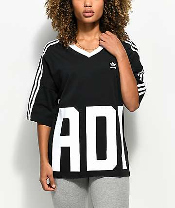 adidas Big Logo 3 Stripe V-Neck T-Shirt
