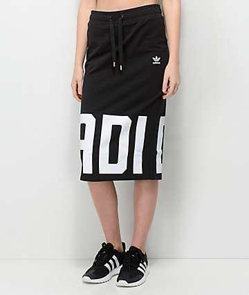 adidas Black & White Midi Skirt