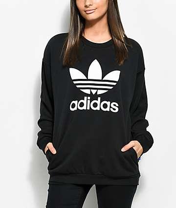 adidas Black Trefoil Crew Neck Sweatshirt