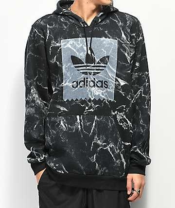 adidas Blackbird Marble Print Black Hoodie