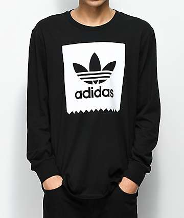 adidas Blackbird Solid Black & White Long Sleeve T-Shirt