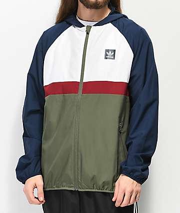 adidas Blackbird chaqueta cortavientos azul marino y verde