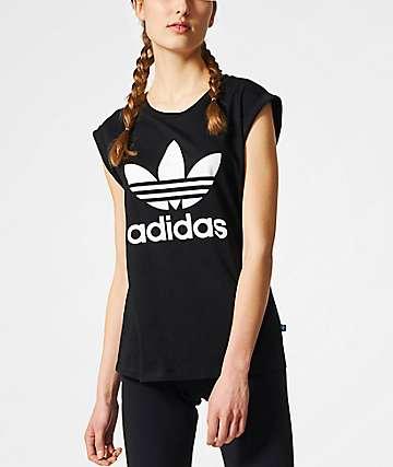 adidas Boyfriend Trefoil Roll Up Black T-Shirt
