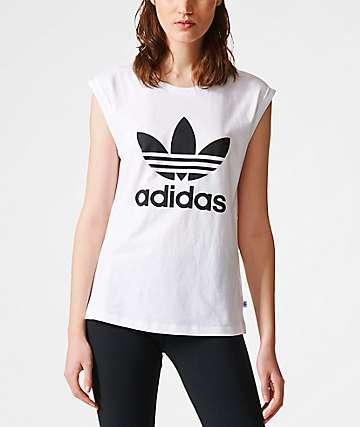 adidas Boyfriend Trefoil Roll Up White T-Shirt