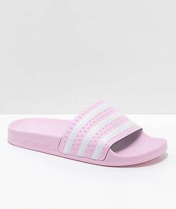 adidas Boys Adilette Pink Slide Sandals