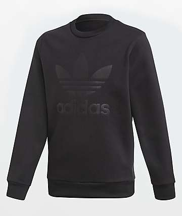 adidas Boys Debossed Black Crew Neck Sweatshirt