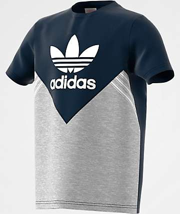 adidas Boys J M FL Navy, Heather Grey & White T-Shirt