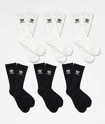 adidas Boys Trefoil 6 Pack Black & White Crew Socks