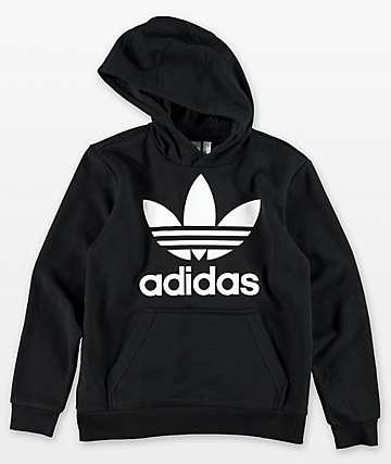 adidas Boys Trefoil Black & White Hoodie