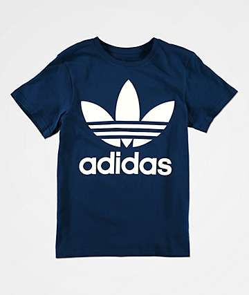 adidas Boys Trefoil Marine Blue T-Shirt
