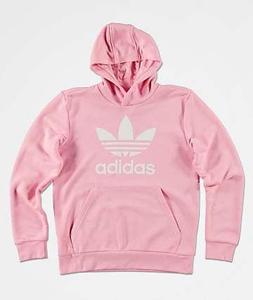 adidas Boys Trefoil Pink Hoodie