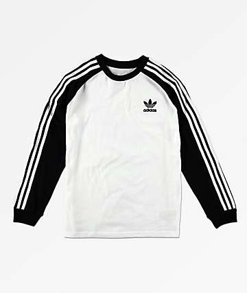 adidas Boys Trefoil White & Black Long Sleeve T-Shirt