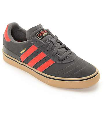 adidas Busenitz Vulc Grey, Red, & Gum Shoes