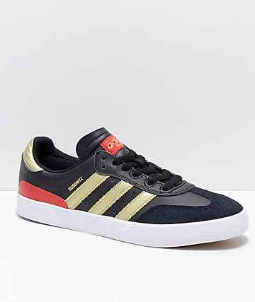 adidas Busenitz Vulc Samba RX zapatos en negro, rojo y dorado