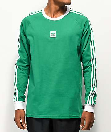 adidas Cali Blackbird Green & White Long Sleeve T-Shirt