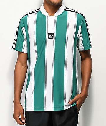 adidas Clatsop Green & White Striped Jersey