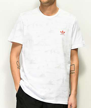 adidas Climalite Haven All Over Print White & Grey T-Shirt