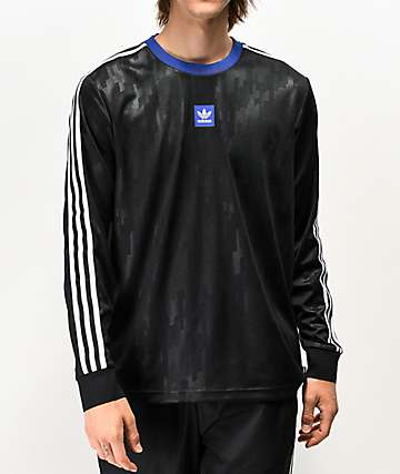 adidas Dodson Black & Blue Long Sleeve Mesh Jersey