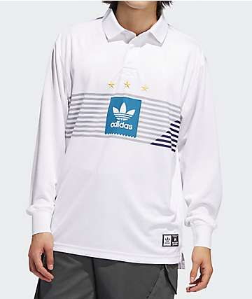 adidas Elevated White Long Sleeve Rugby Shirt