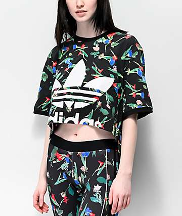 adidas Floral Print Black Crop T-Shirt