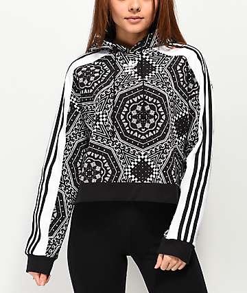 adidas Geometric 3-Stripe Black Crop Hoodie