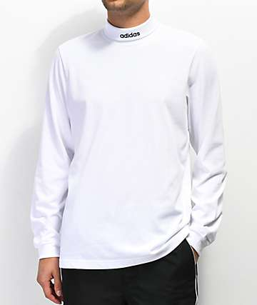 adidas High Collar White Long Sleeve T-Shirt