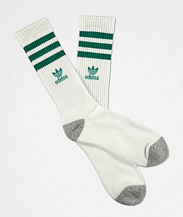 adidas High Roller White & EQT Green Crew Socks