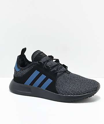 adidas Kids Xplorer Black & Blue Knit Shoes