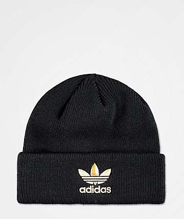 f46ccda295324 adidas Men s Black   Gold Foil Beanie